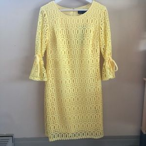 NWT Karin Stevens Yellow Lace  Dress Tie Accents